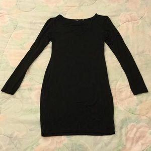 Boohoo Black V-neck Bodycon Dress